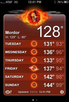 Weather forecast for Mordor.