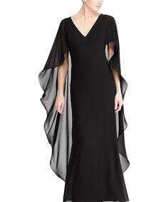 Loving this Black Ruffle Georgette Cape Gown - Women on #zulily! #zulilyfinds