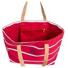 Women's Monogram Red Striped Tote with Leather Handles - M, Size: Medium, Red - M