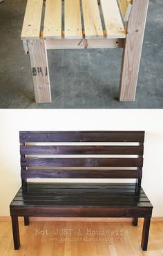 15 DIY Entryway Bench Projects • Tons of Ideas and Tutorials! Including, from 'not just a housewife', this simple diy entryway bench.