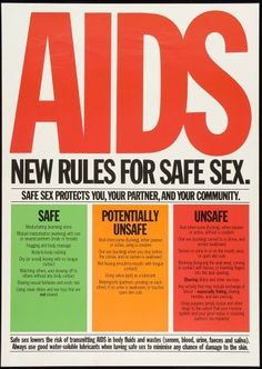 "AIDS - New Rules for Safe Sex. This is from a campaign early in the HIV epidemic. The words ""HIV"" and ""AIDS"" were often used interchangeably during the 1980's in the media and on the street."