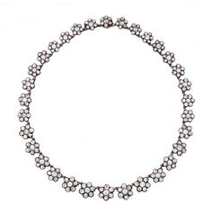 An Antique Diamond Flowerhead Cluster Necklace ($95,000) ❤ liked on Polyvore featuring jewelry, necklaces, antique necklaces, diamond necklace, antique diamond necklace, diamond jewellery and diamond jewelry
