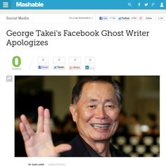 http://mashable.com/2013/06/12/george-takei-facebook-apology/ George Takeis Facebook Ghost Writer Apologizes | #Indiegogo #fundraising http://igg.me/at/tn5/
