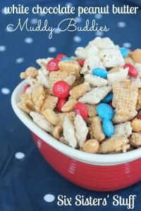 Six Sisters White Chocolate Peanut Butter Muddy Buddies Recipe is a tasty snack that won't last long!