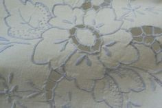 "VTG Set of 2 Pillow Cases  Embroidery Cut Work Madeira  Blue Lace 19.5"" X 33"""