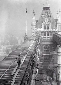 Workmen on tower bridge c.1900