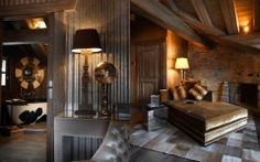 Love the leather style! Chalet Design, Chalet Style, Alpine Chalet, Ski Chalet, Chalet Interior, Interior Design, Courchevel 1850, Rustic Homes, Luxury Cabin
