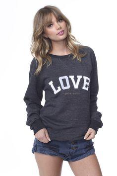 Varsity Love Raglan Sweatshirt Black   Spiritual Gangster Yoga Clothing