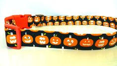 """Pumpkin Dog Collar - Glow in the Dark Pumpkin Halloween - """"Screem""""- NO EXTRA Charge for colored buckles is at a great price. Shop now before they're gone in a flash! Visit - https://www.etsy.com/listing/245838464/pumpkin-dog-collar-glow-in-the-dark?utm_source=mento&utm_medium=api&utm_campaign=api #pets"""