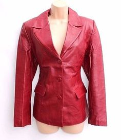 Soft Red 100% Real Leather LUCAS Fitted Ladies Women's Jacket Coat Blazer Size M