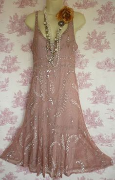 Principles deco charleston flapper 20's style beaded sequin pink dress 10 | eBay
