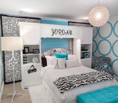Girl Bedroom Ideas For 11 Year Olds emily's turquoise and black pre-teen room | turquoise, large and