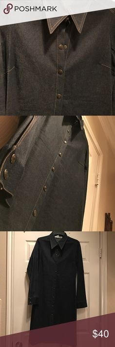 ❗️NEW❗️Necessary Objects Denim Coat Dress Necessary Objects Denim Button Down Western Coat Dress - Heavy Denim- upscale fabric Necessary Objects Dresses Midi
