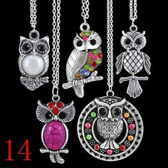 '5pcs mix vintage crystal rhinestone owl Necklaces' is going up for auction at  7am Tue, Jun 11 with a starting bid of $5.