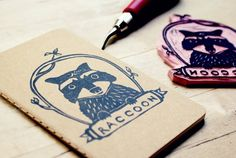 Raccoon Woodland Animal Lined Notebook Moleskine por subtleacts