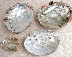 Dressed up abalone with misc jewelry.  Salvaged Treasures: Yard Sale and Antique Show Treasures