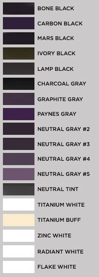 Some blacks, grays, and whites.  On my monitor, 4 of the whites read the same...sigh.