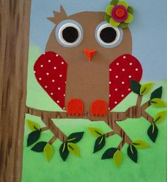 owl on canvas with felt and fabric