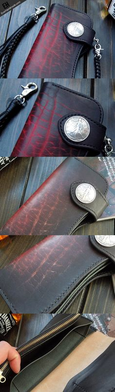 Handmade black leather punk long biker wallet chain bifold long wallet   EverHandmade