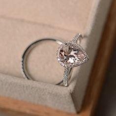 Pink morganite ring, pear gemstone, engagement morganite ring, sterling sivler