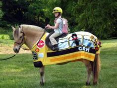 CKRH Ingrid in School Bus costume. Horse costume by Shirley Gentry
