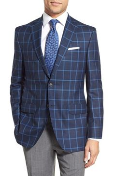 David Donahue Classic Fit Windowpane Wool Sport Coat