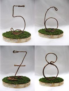 Awww I like this so much    Set of 8 - Rustic Wedding Table Numbers Birch Slices with Moss Bedding, Wedding Table Decoration, Shabby Chic Wedding, Rustic Wedding. $105.00, via Etsy.