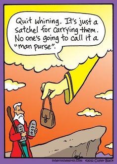 "It's not a ""man purse"" - it's a ""ten commandments satchel."""