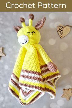 Giraffe Comforter Amigurumi Pattern African Animal Giraffe Lovey Crochet Pattern Giraffe Doll Easy Crochet Pattern Stroller Toy Baby Teether Crochet Lovey Free Pattern, Crochet Toys Patterns, Baby Blanket Crochet, Amigurumi Patterns, Stuffed Toys Patterns, Crochet Baby, Spiral Crochet, Single Crochet Decrease, Giraffe Crochet