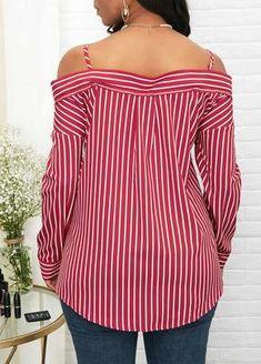 ad4da4cecedbc Spaghetti Strap Button Front Striped Shirt