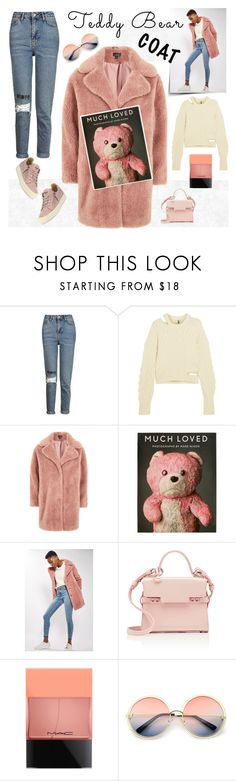 """""""topshop teddy coat"""" by katymill ❤ liked on Polyvore featuring Topshop, Topshop Unique, Delvaux, MAC Cosmetics, ZeroUV, Giuseppe Zanotti, topshop and teddybearcoat"""