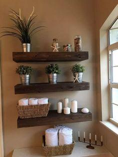 15 Glorious DIY Shelves That Will Beautify Your Home - - Diy Badezimmer - Bathroom Decor Diy Bathroom Decor, Bathroom Furniture, Diy Home Decor, Bathroom Storage, Bathroom Ideas, Small Bathroom, Bathroom Remodeling, Decorating Bathrooms, Floating Shelves Bathroom