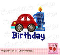 1st Birthday  with car digital applique-Car by CherryStitchDesign