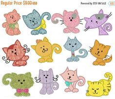 SALE CATS Machine Applique Embroidery Instant by embroiderquilt