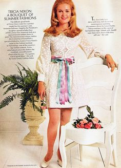 Tricia Nixon 1970 lace minidress bow belt puffy sleeves