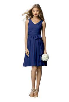Cobalt Blue Crinkle Chiffon Bridesmaid Dress.......