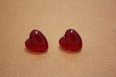 Ruby Red Slippers Glass Nail Polish Heart Post Earrings, $3.00