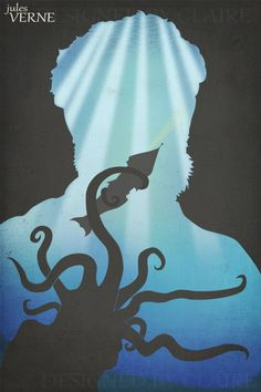 Classic Authors Art Print Jules Verne Silhouette by ModernBohemia, $12.95