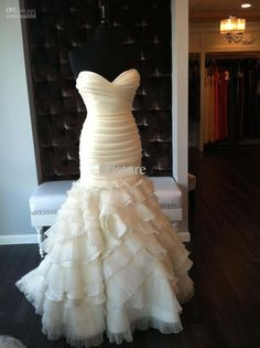 Wholesale Cheap Strapless Ruffled Organza Mermaid Wedding Dress Pleated Zipper Chapel Train Bridal Gown, Free shipping, $173.6-190.4/Piece | DHgate