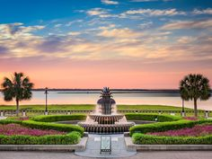 "If you're not sure how to get to Waterfront Park, just ask a local where the ""pineapple fountain"" is. One of the most photographed fountains in the region, the multi-layered pineapple flanks the palmetto-lined boardwalk along the Cooper River and Atlantic Ocean. For the best photo ops, get there just before sunrise or sunset, when the sky does its thing. Along with the fountain, which is open for kids to splash and play in, the park has running trails and oak-lined pathways for wandering."