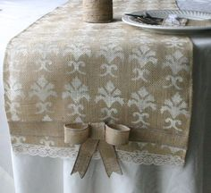 Burlap wedding decorations  Burlap table runner  by Bannerbanquet, $25.00