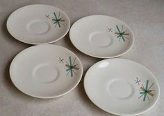 These 4 atomic star saucer plates are from the Salem North Star collection. All four plates are in mint condition, NO damage. 6 diameter Plates will ship immediately upon payment. Vintage Dishware, Vintage Kitchen, Fun Cocktails, Cool Bars, Hospitality, Decorative Plates, Mint, Etsy Shop, Ship