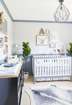 85 Darling Baby Nursery Design Ideas for 2019 Transitional blue nursery bedroom with indoor plants and carpet flooring. Baby Room Colors, Baby Boy Room Decor, Baby Boy Rooms, Bedroom Colors, Nursery Decor, Kids Rooms, Nursery Ideas, White Room Decor, Blue Furniture