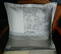 pillow cover  cushion cover  Toile de Jouy by frenchshabbystyle