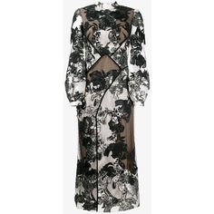 Erdem Silk Blend Floral Jacquard Panelled Dress ($4,830) ❤ liked on Polyvore featuring dresses, night out dresses, long floral dresses, long slip dress, long-sleeve floral dresses and long sheer dress