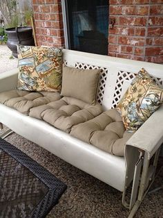 Beautiful 1950s Vintage Yellow Porch Patio Metal Glider