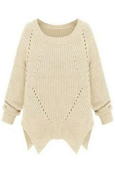 Trendy Hollow Out Solid Long Sleeve Split Kint Pullover Loose Sweater - NewChic Asymmetrical Sweater, Thick Sweaters, Blue Sweaters, Loose Sweater, Comfy Sweater, Beige Sweater, Sweater Weather, Pulls, Pullover Sweaters