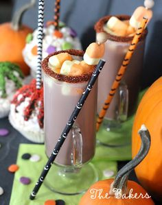 Hot chocolate with candy corn marshmallows
