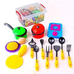 Kidcia Plastic Little Chefs Toys Cookware Playset with Cooking Utensils 18 Pcs Toy Pots and Pans Play Kitchens for Toddlers * Read more  at the image link.
