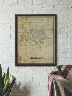 Vintage Greeley Map, Colorado, Vintage style Map, City Map, Greeley Print, Gift Map, Antique Greeley